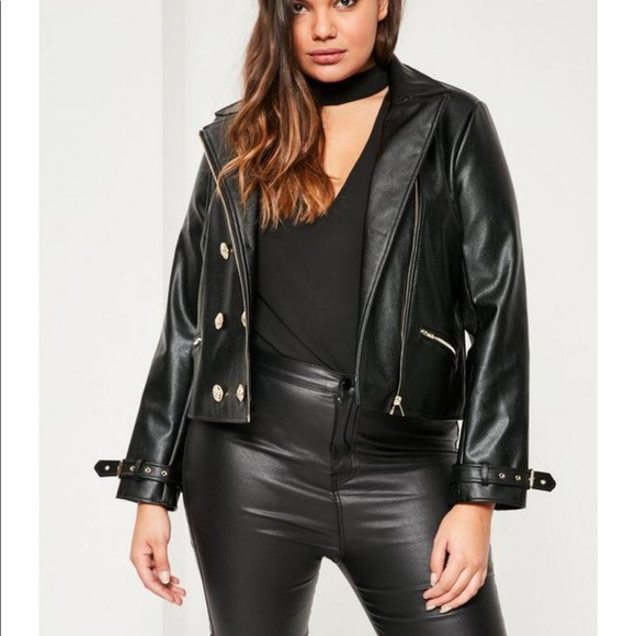 fca37d6b Missguided Jackets & Coats | Plus Size Black Military Faux Leather ...